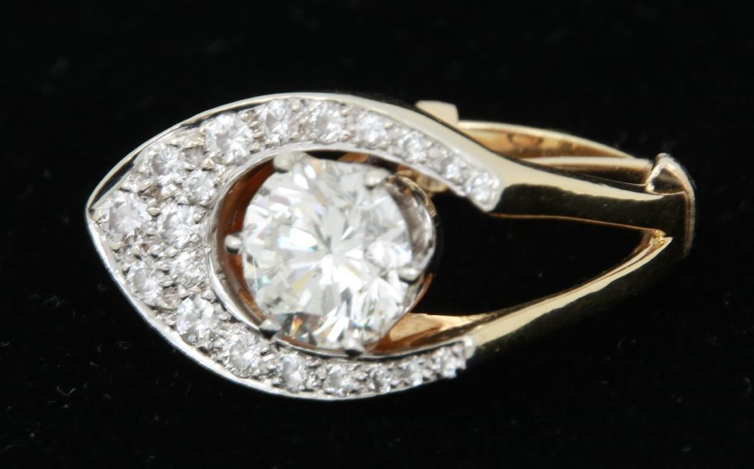 3 Ct. Diamond & 18K Gold Ring - 8