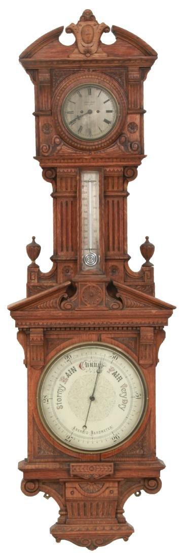 Monumental Oak Double Fusee Wall Clock & Barometer