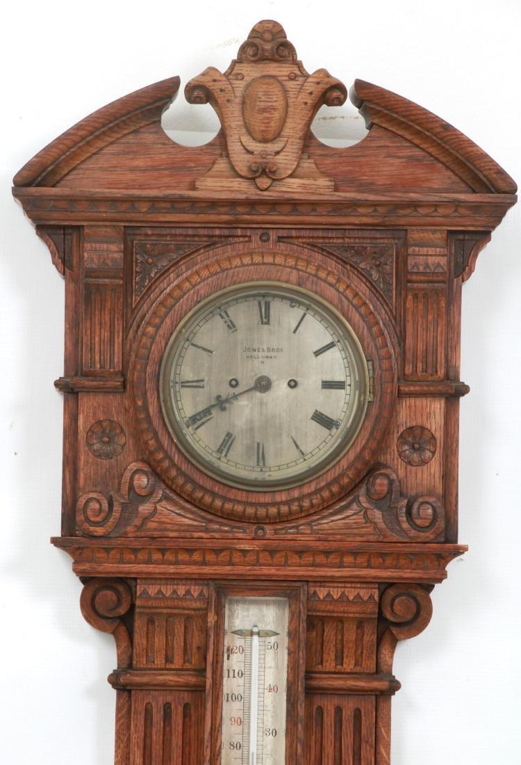 Monumental Oak Double Fusee Wall Clock & Barometer - 2