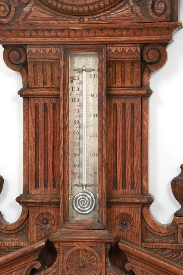 Monumental Oak Double Fusee Wall Clock & Barometer - 3