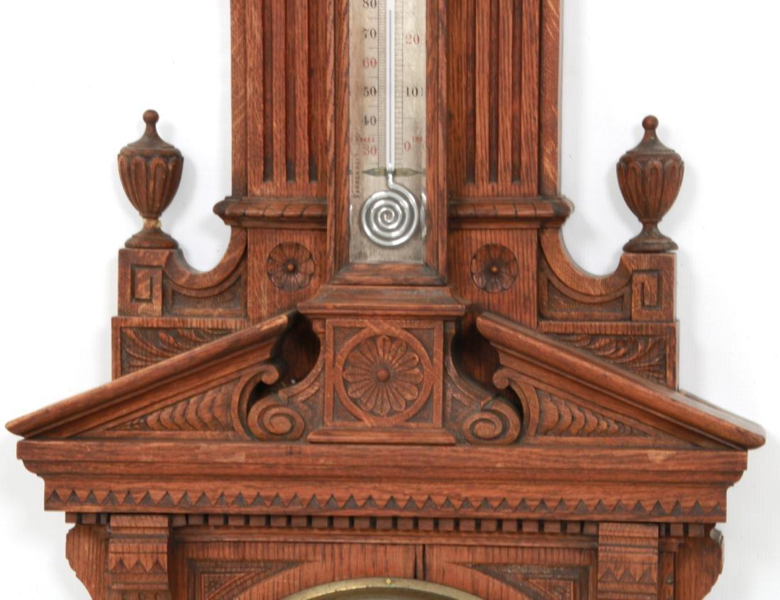 Monumental Oak Double Fusee Wall Clock & Barometer - 4