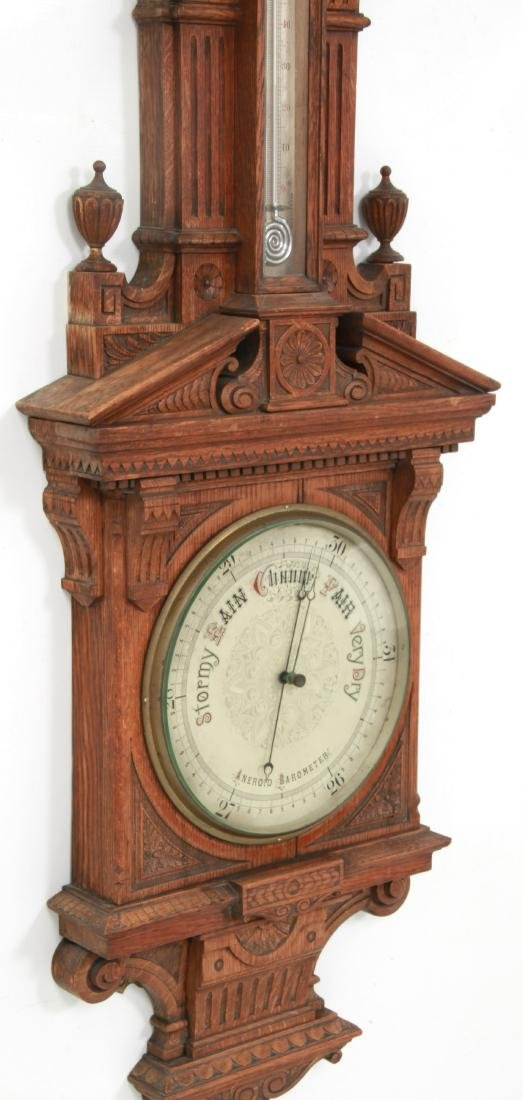 Monumental Oak Double Fusee Wall Clock & Barometer - 5