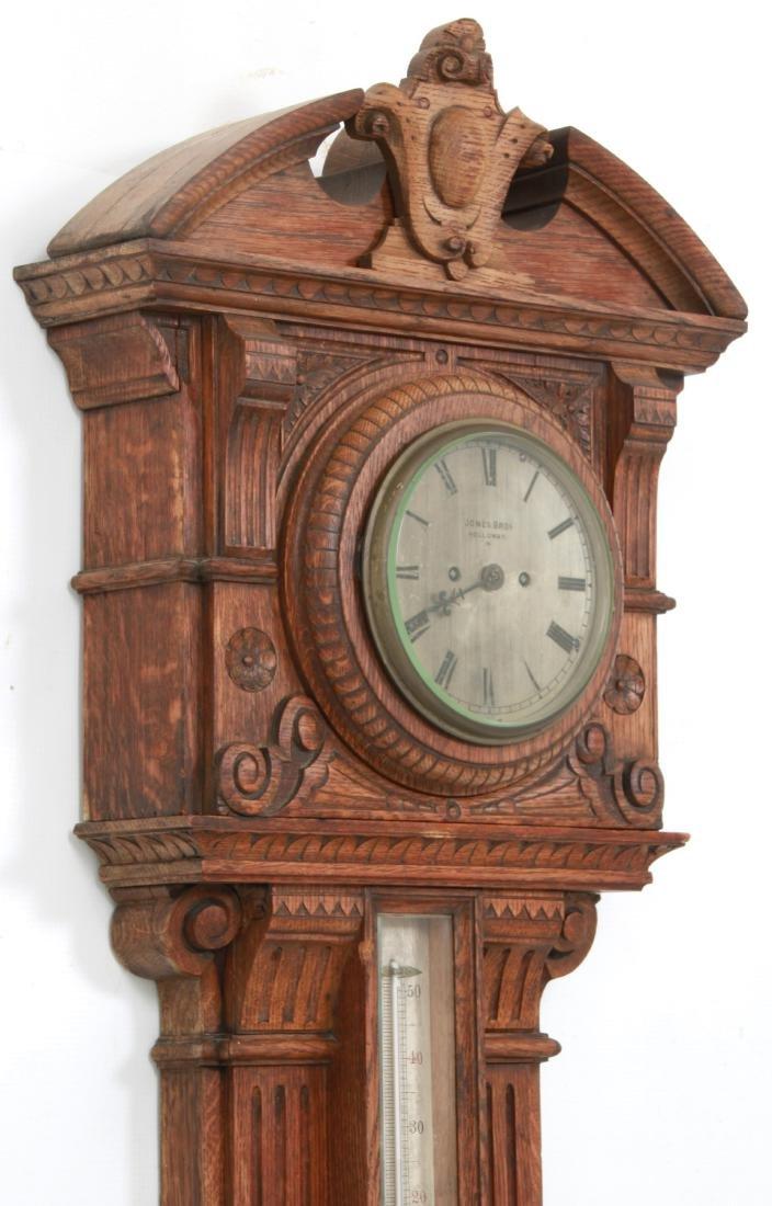 Monumental Oak Double Fusee Wall Clock & Barometer - 6