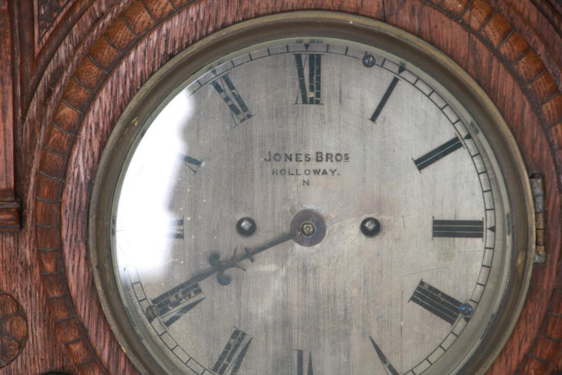 Monumental Oak Double Fusee Wall Clock & Barometer - 8