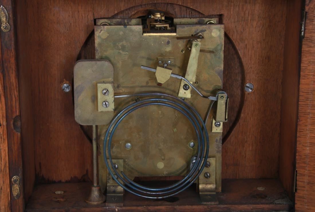Monumental Oak Double Fusee Wall Clock & Barometer - 9