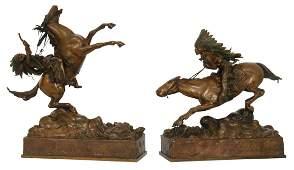 2 Kauba Bronze Native American Indian Bronzes