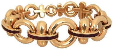 Tiffany  Co 18K Gold  Ruby Bracelet