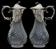 Pr German Silver  Cut Glass Claret Jugs