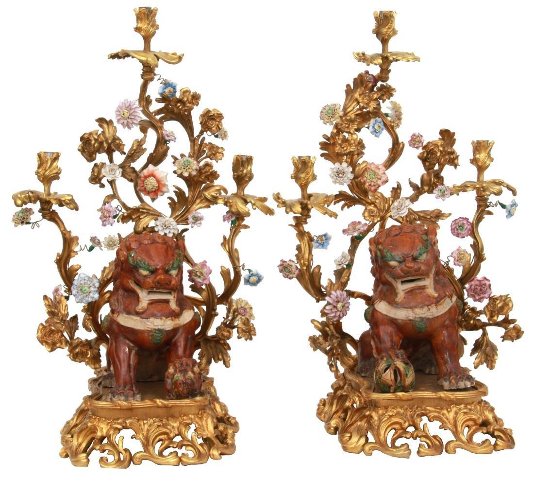 Pr. Bronze & Pottery Foo Dog Candelabra