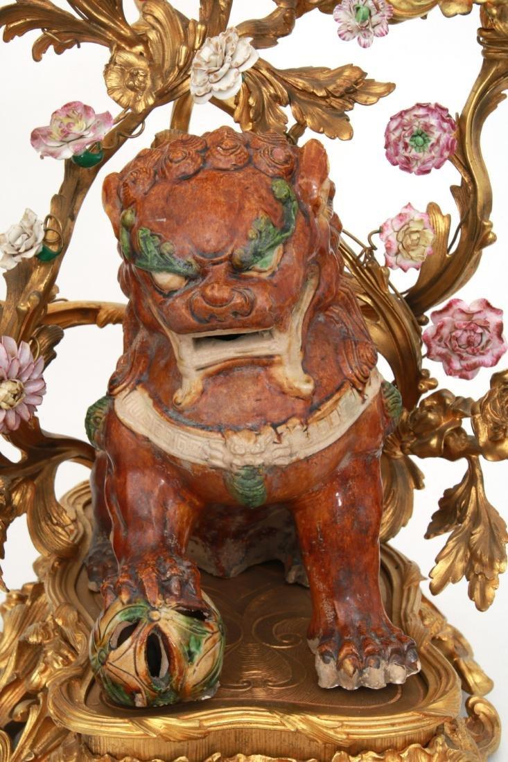 Pr. Bronze & Pottery Foo Dog Candelabra - 2