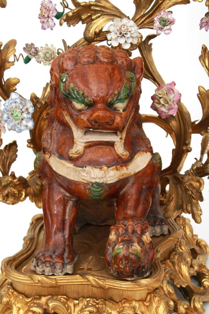 Pr. Bronze & Pottery Foo Dog Candelabra - 6