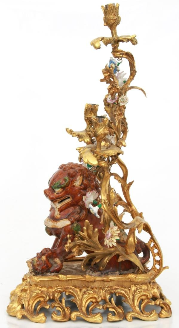 Pr. Bronze & Pottery Foo Dog Candelabra - 8