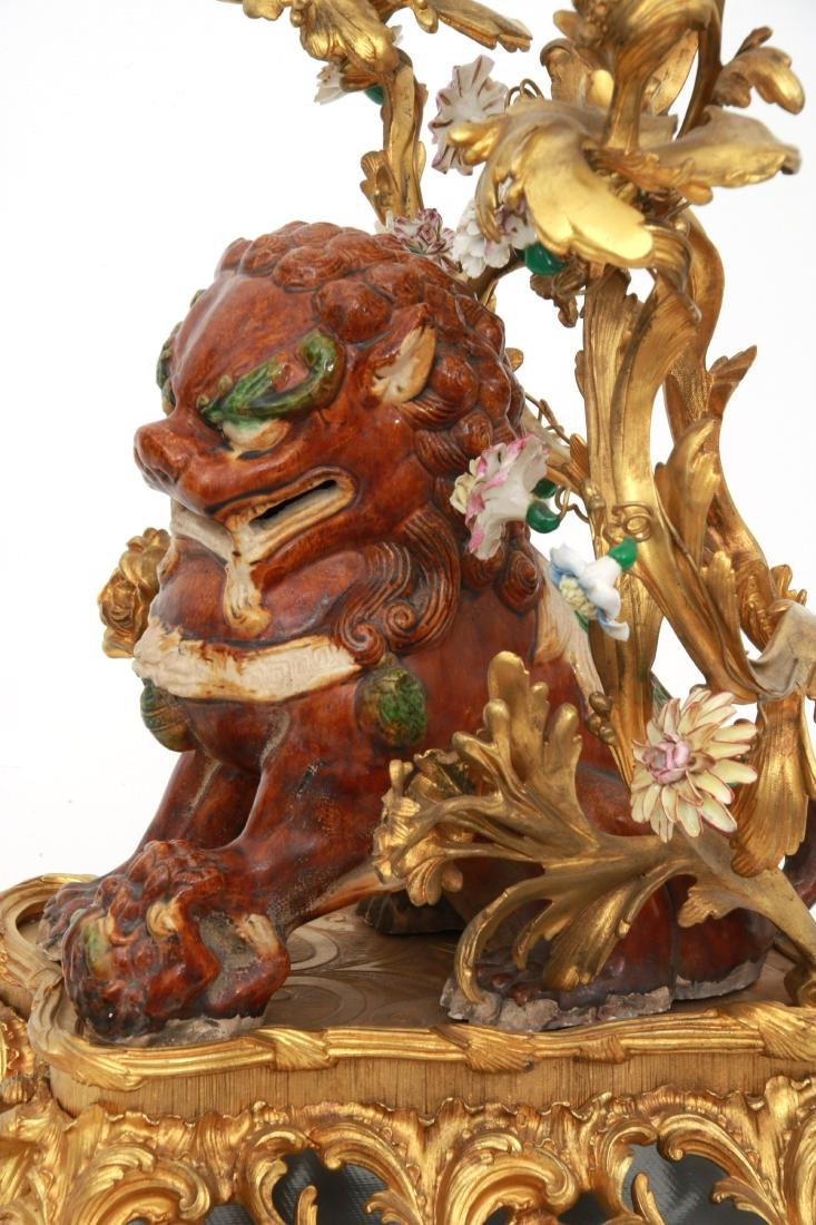 Pr. Bronze & Pottery Foo Dog Candelabra - 9