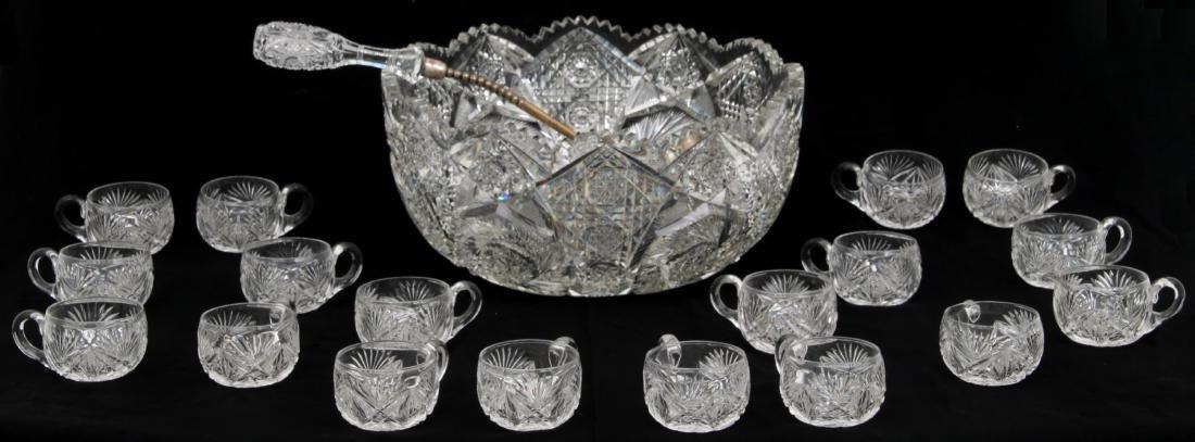 20 Pcs. Brilliant Cut Glass Punch Bowl Set