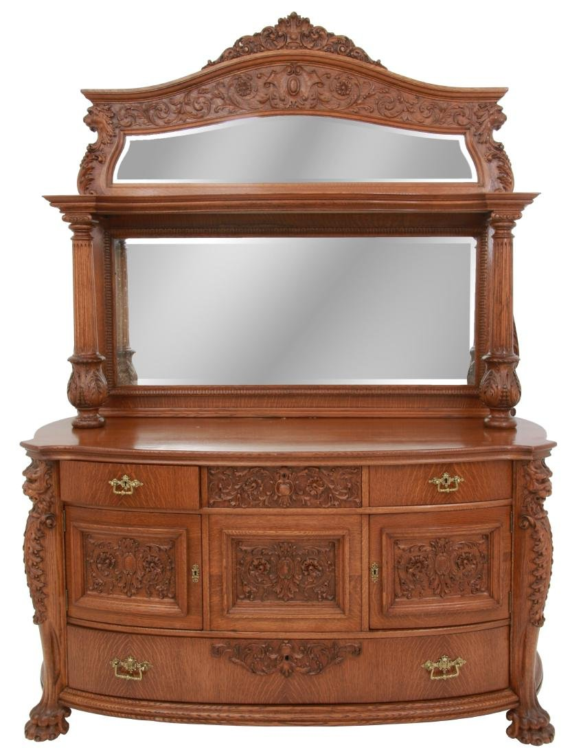 American Carved Quartersawn Oak Sideboard - 2