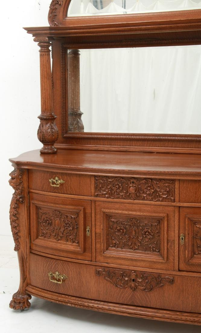 American Carved Quartersawn Oak Sideboard - 5
