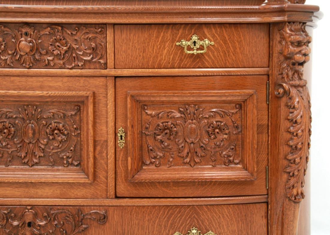 American Carved Quartersawn Oak Sideboard - 8