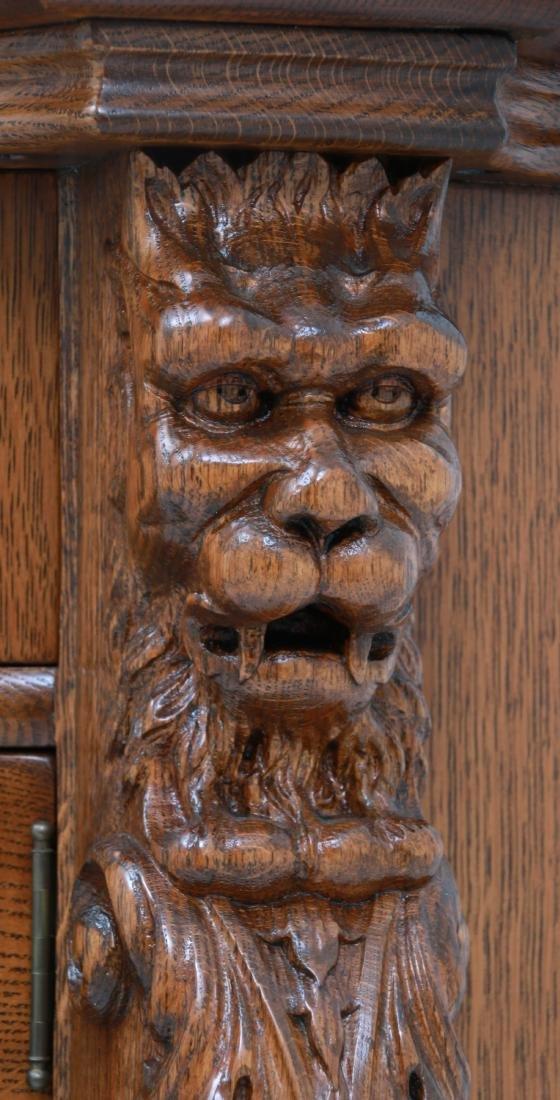 American Carved Quartersawn Oak Sideboard - 9