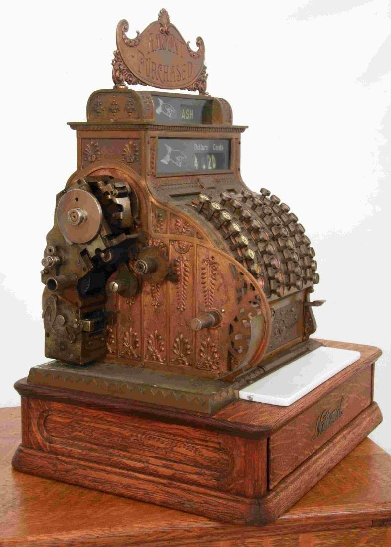 National Cash Register, Oak Stand & Receipt Box - 4