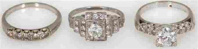 3 Pcs. Estate Diamond Rings