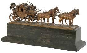 Carl Kauba Bronze Stagecoach & Four Horses