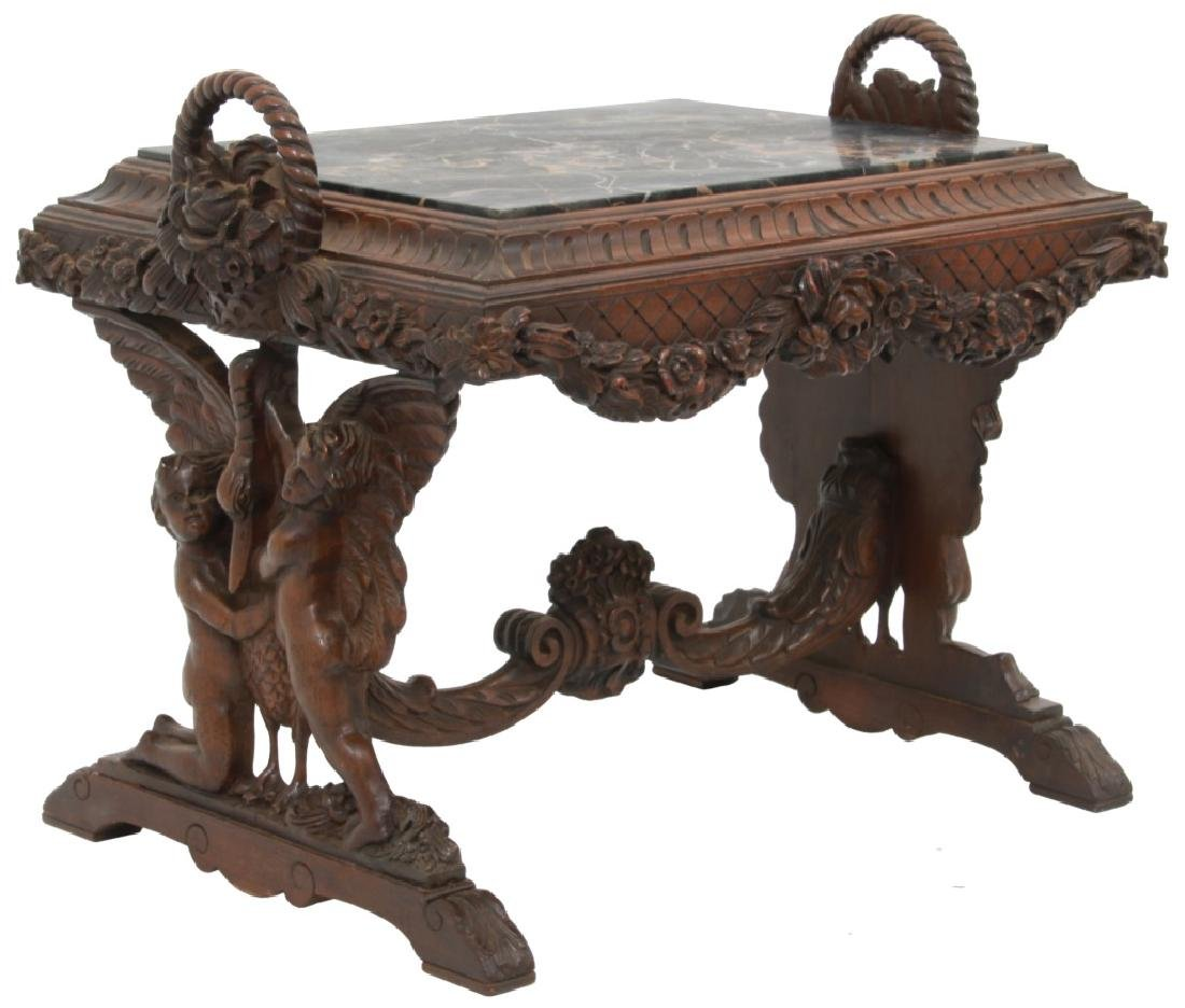 Figural Marble Top Side Table