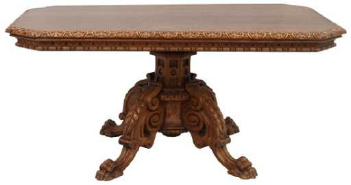 Carved Oak Claw Foot Dining Table