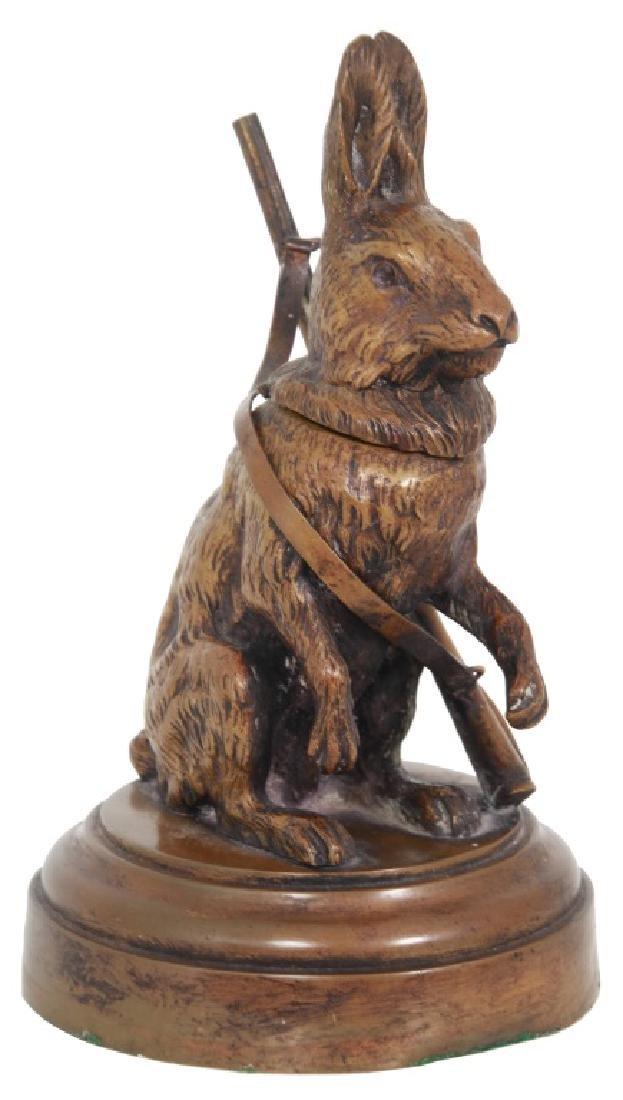 Figural Rabbit Bronze Inkwell