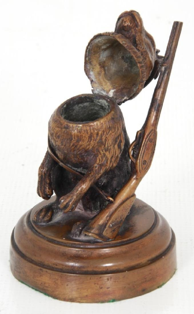 Figural Rabbit Bronze Inkwell - 5