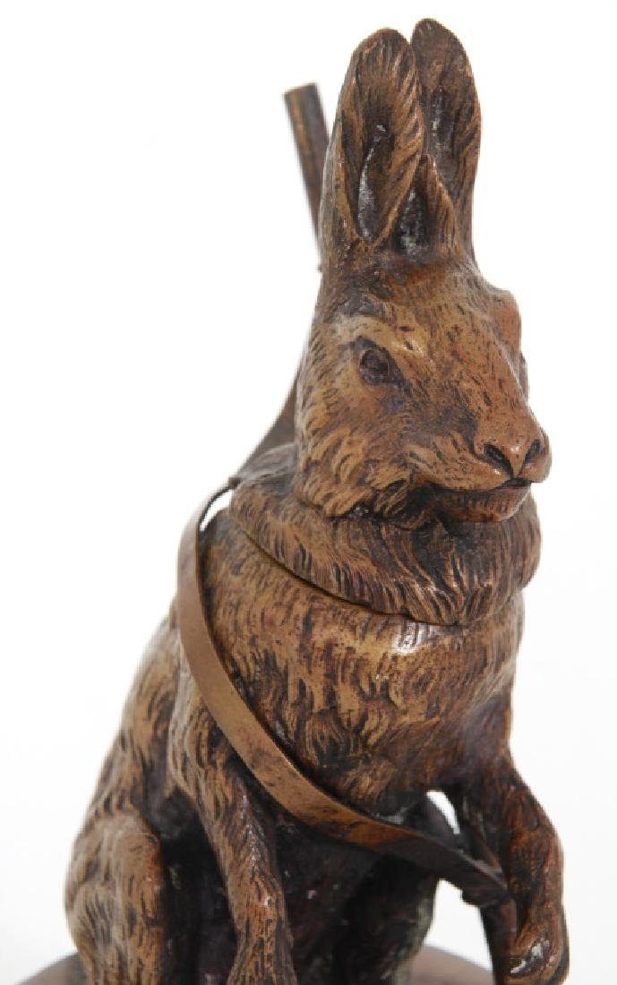 Figural Rabbit Bronze Inkwell - 7