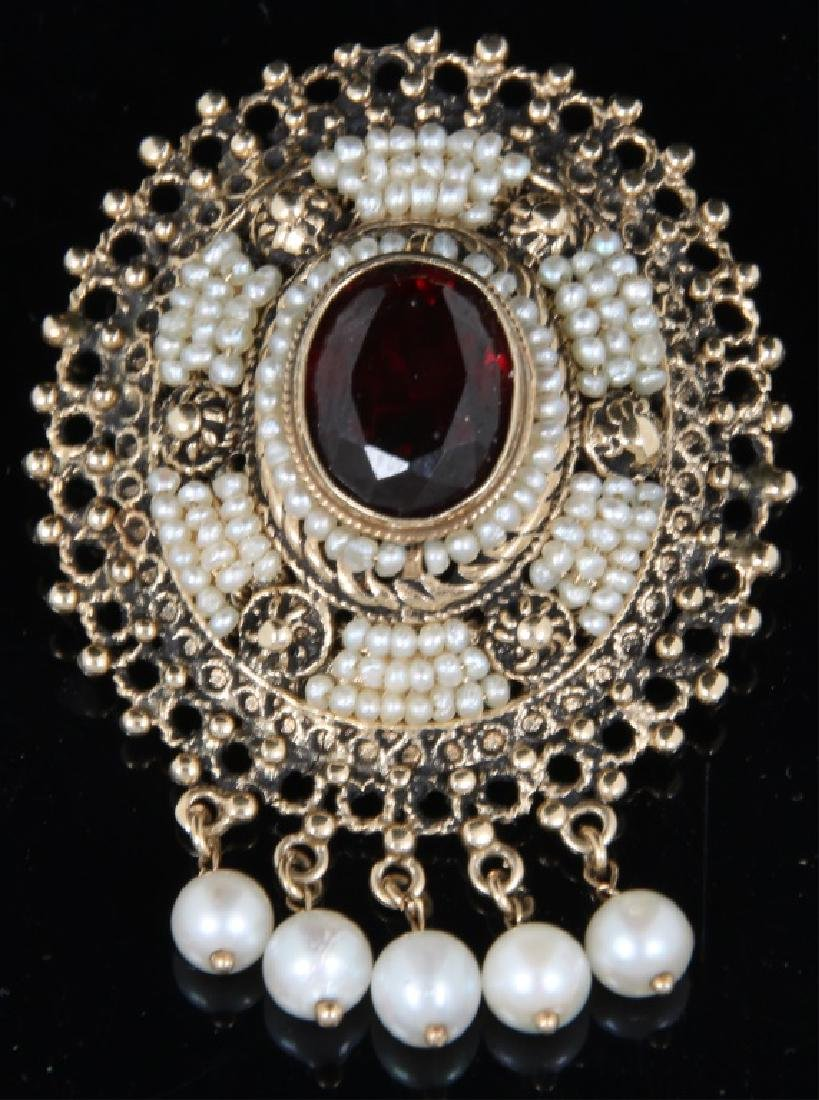 14K Gold, Garnet and Pearl Brooch
