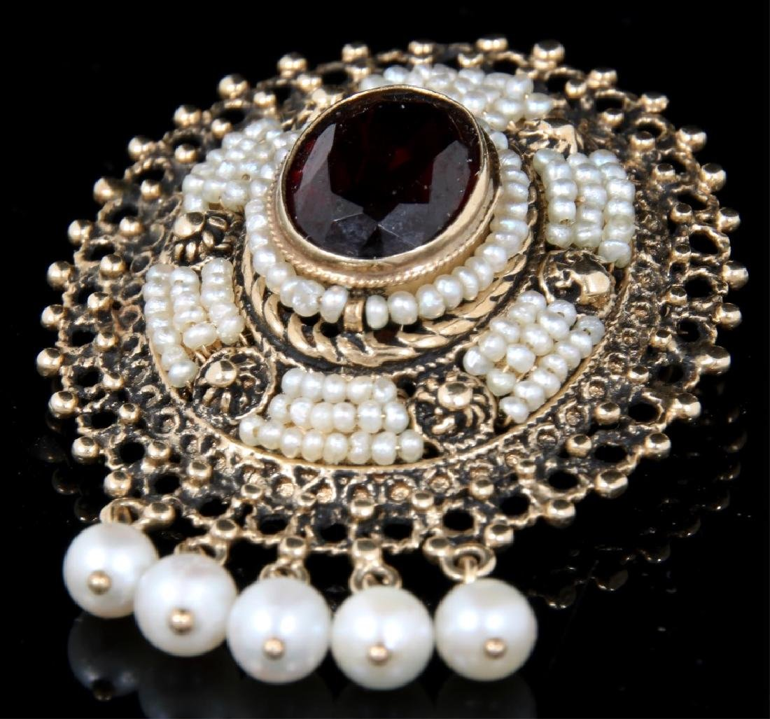 14K Gold, Garnet and Pearl Brooch - 2