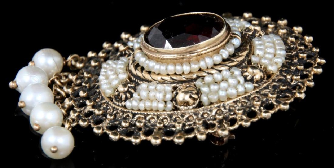14K Gold, Garnet and Pearl Brooch - 3