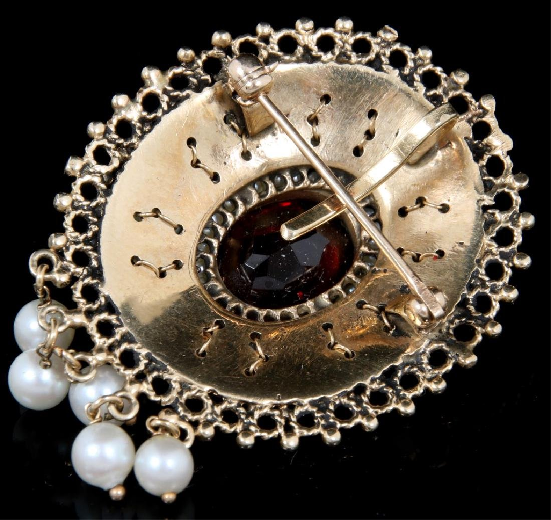 14K Gold, Garnet and Pearl Brooch - 4