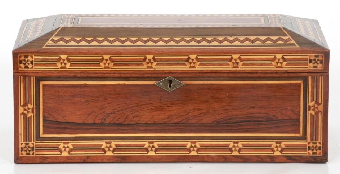 Marquetry Inlaid Rosewood Jewelry Box - 10