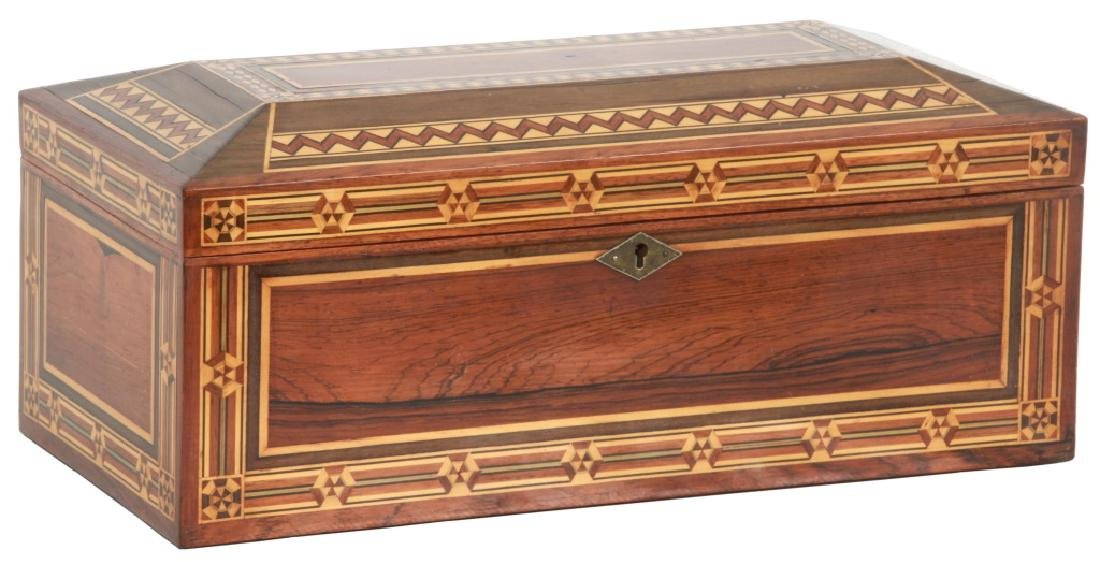 Marquetry Inlaid Rosewood Jewelry Box
