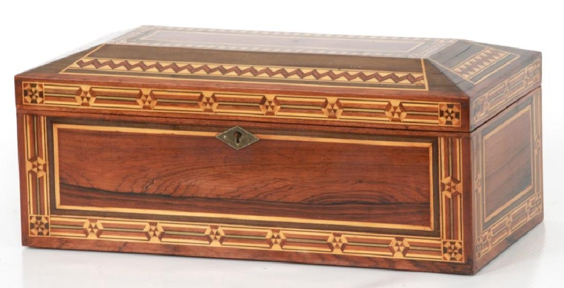 Marquetry Inlaid Rosewood Jewelry Box - 2