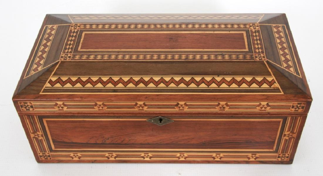 Marquetry Inlaid Rosewood Jewelry Box - 3