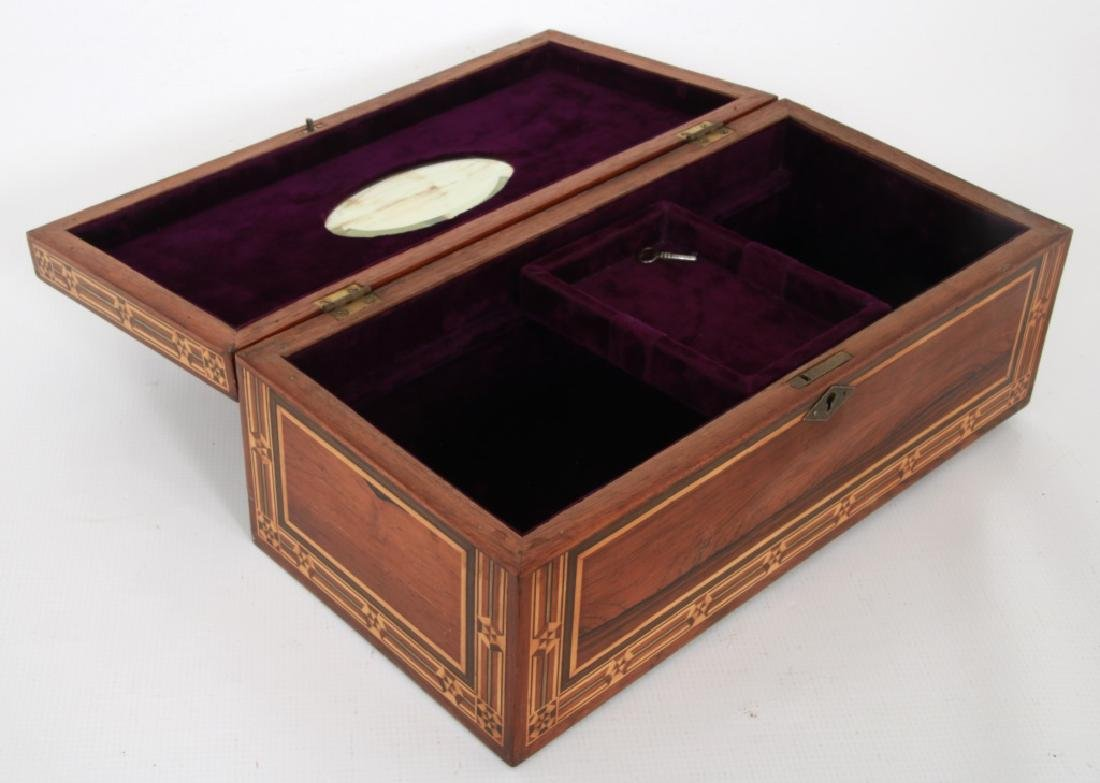 Marquetry Inlaid Rosewood Jewelry Box - 4