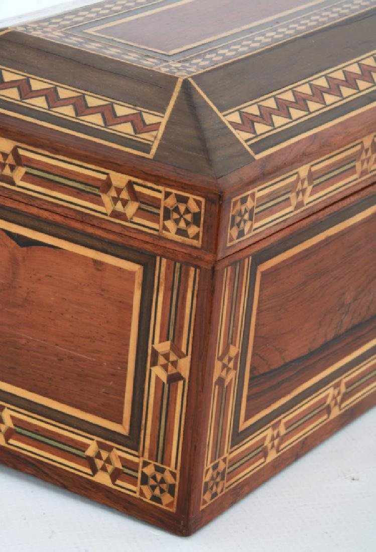 Marquetry Inlaid Rosewood Jewelry Box - 6