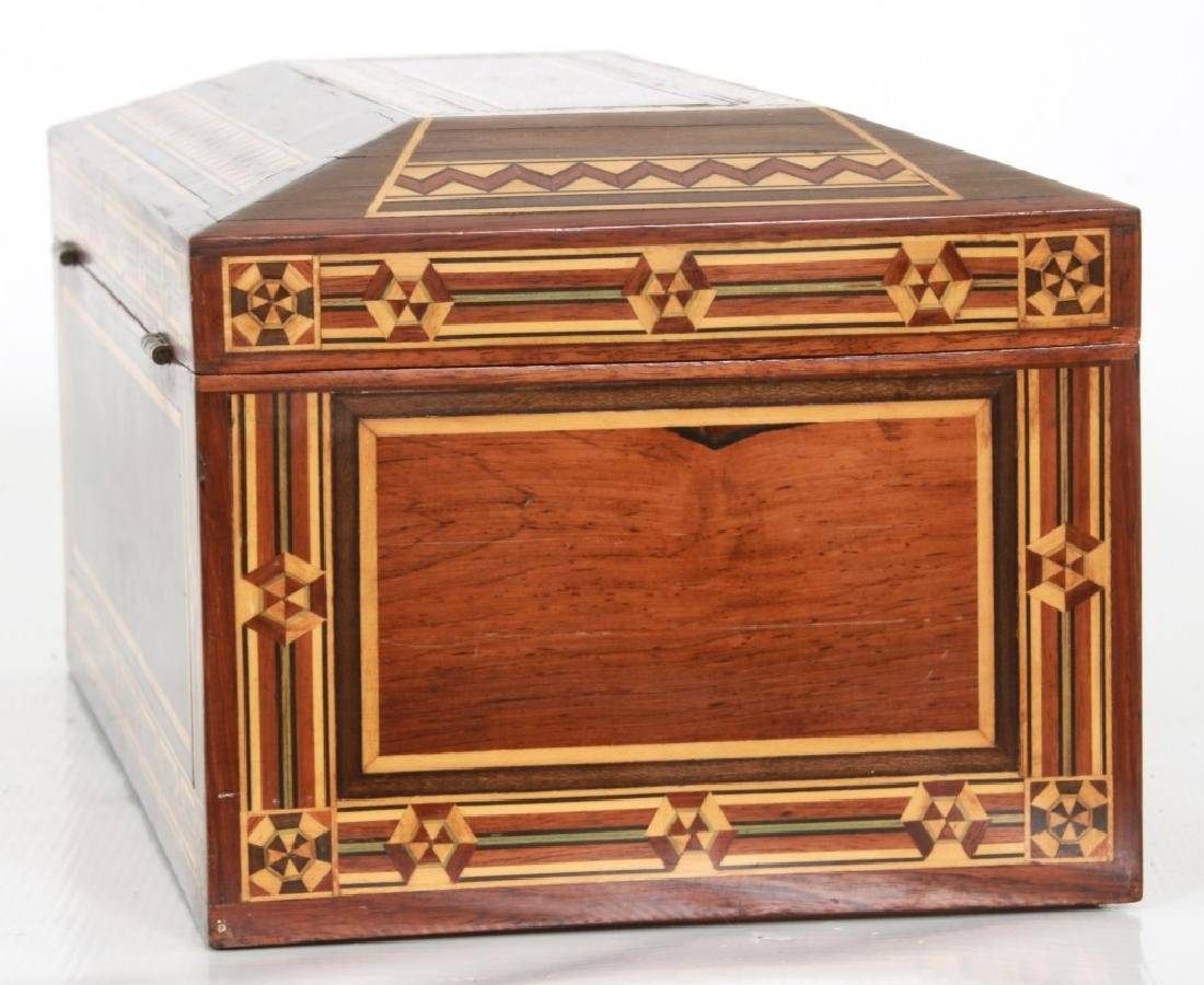 Marquetry Inlaid Rosewood Jewelry Box - 7