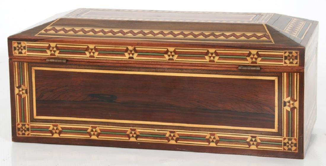 Marquetry Inlaid Rosewood Jewelry Box - 8