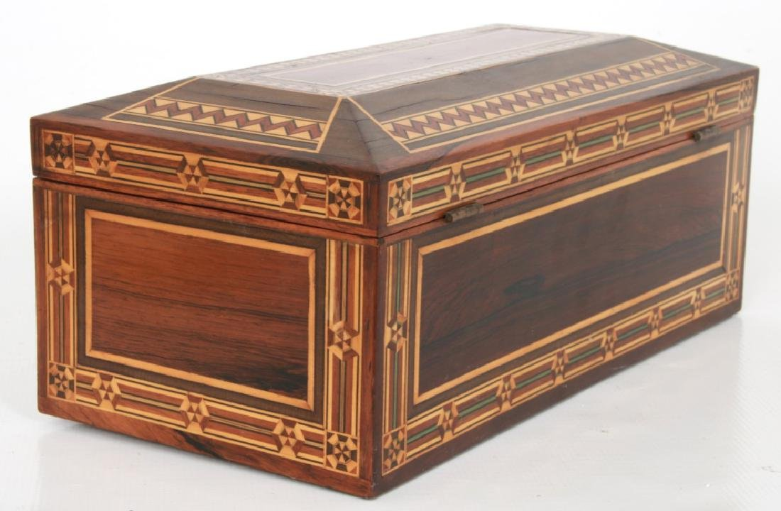 Marquetry Inlaid Rosewood Jewelry Box - 9