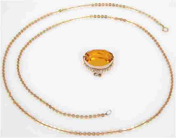 14K Gold Necklace With Gemstone Pendant