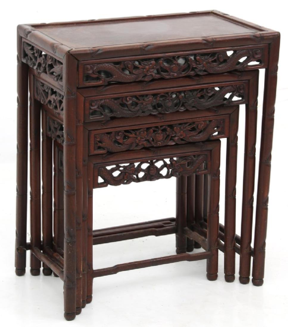 4 Chinese Carved Teak Nesting Tables - 2