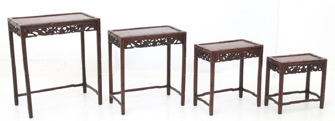 4 Chinese Carved Teak Nesting Tables - 3