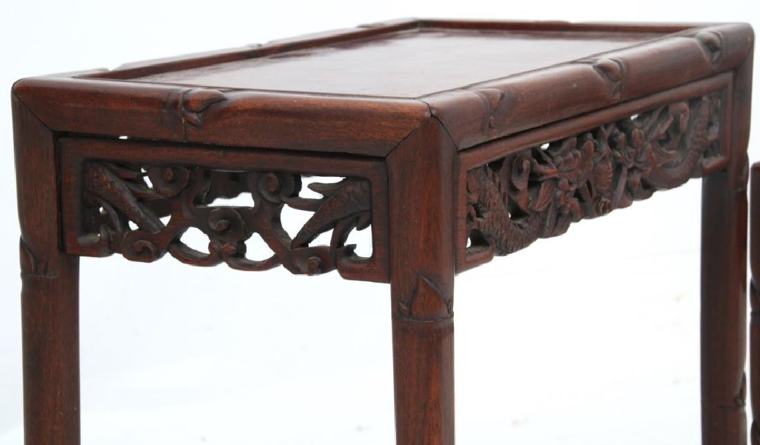 4 Chinese Carved Teak Nesting Tables - 6