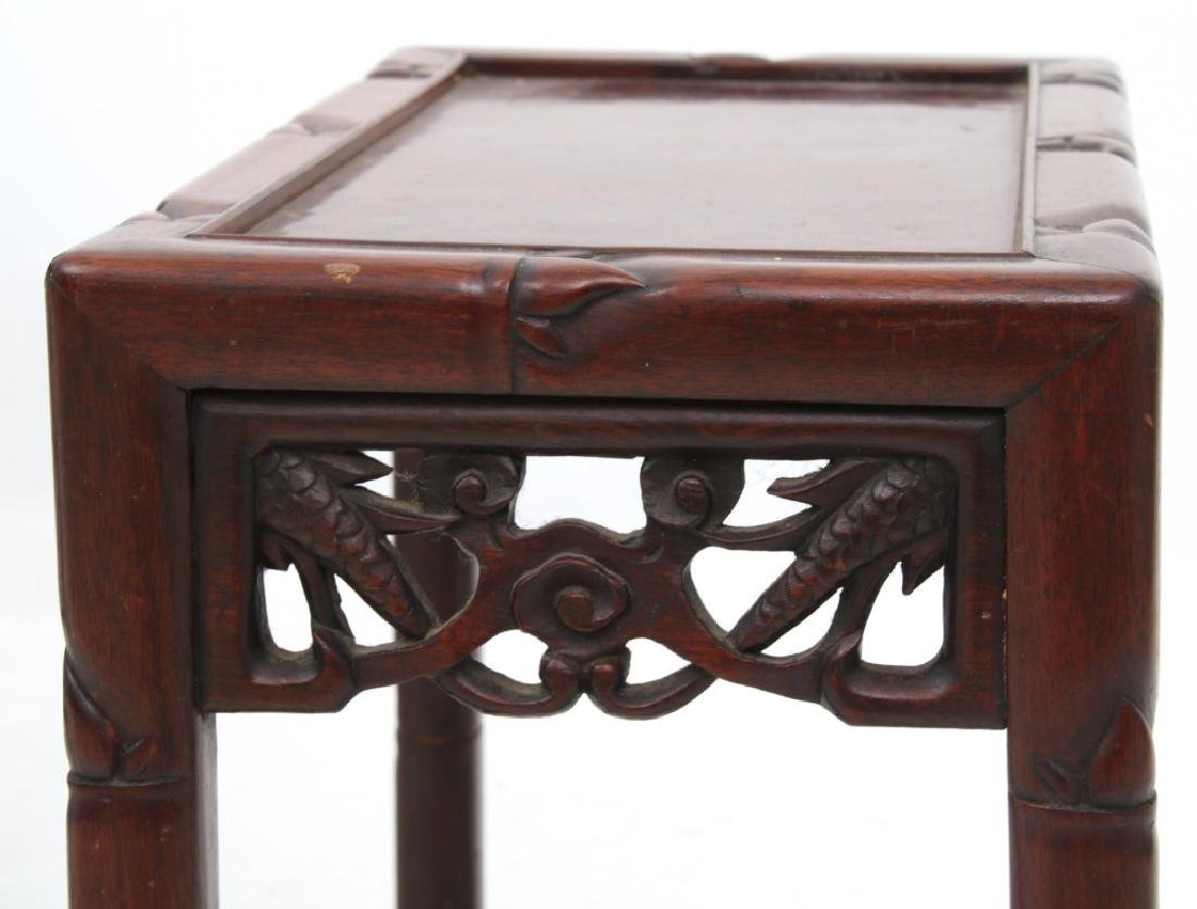4 Chinese Carved Teak Nesting Tables - 9