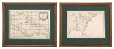 2 Early French Hand Colored Engraved Maps