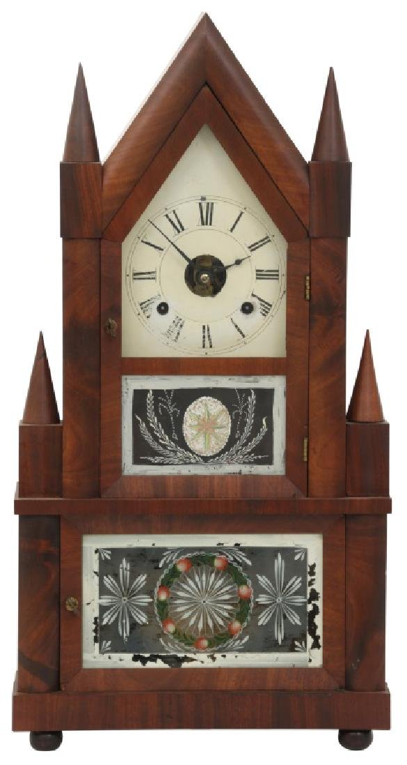 Wagon Spring Double Steeple Mantle Clock